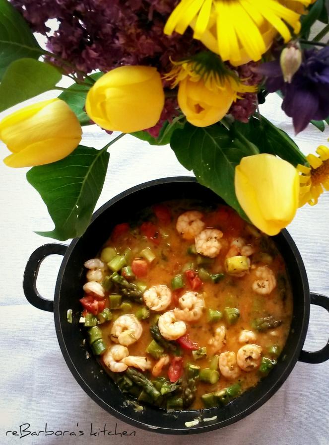 Krevety se zeleným chřestem | reBarbora's kitchen