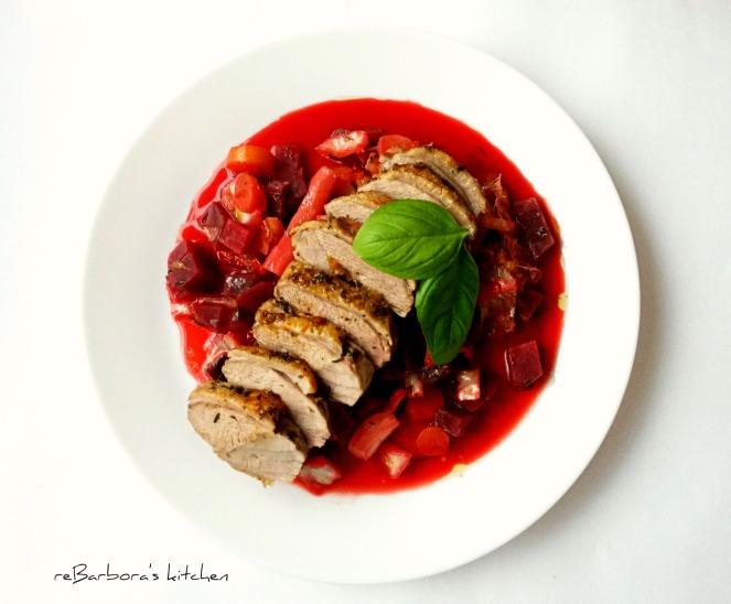 Filírované kachní prso s portským na podzimní zelenině | reBarbora's kitchen