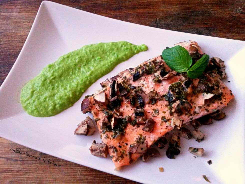 Losos v papilotě s houbami a hráškovým pyré | reBarbora's kitchen