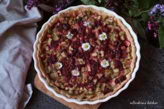 Křehký koláč s rebarborou a malinami | reBarbora's kitchen